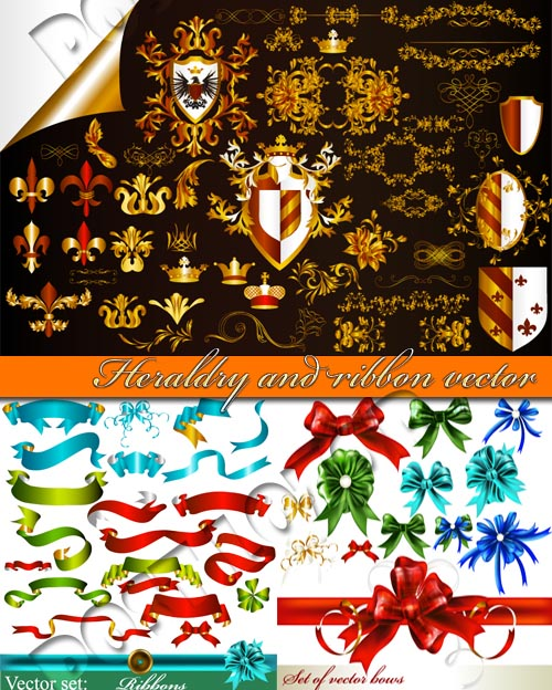 Heraldry and ribbon vector