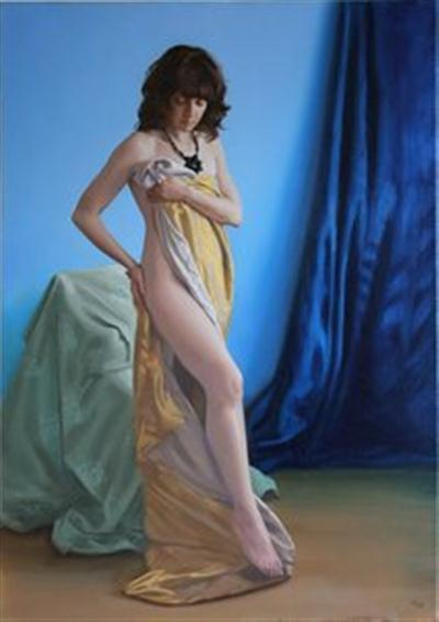 Female Nude Fine Art Pastel Drawing by Owen Claxton
